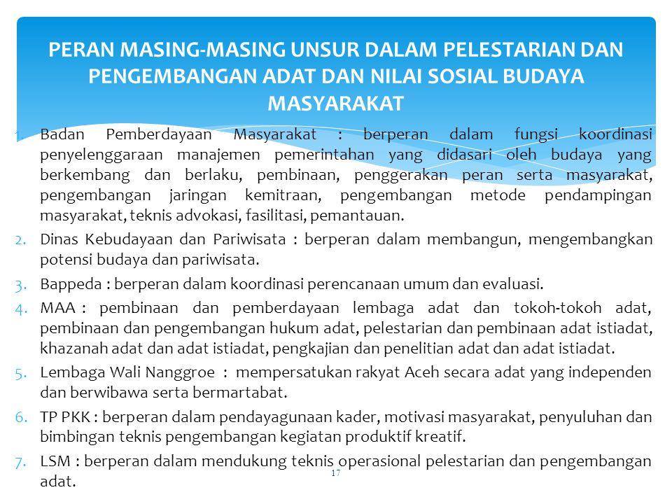 PERAN MASING-MASING UNSUR DALAM PELESTARIAN DAN PENGEMBANGAN ADAT DAN NILAI SOSIAL BUDAYA MASYARAKAT