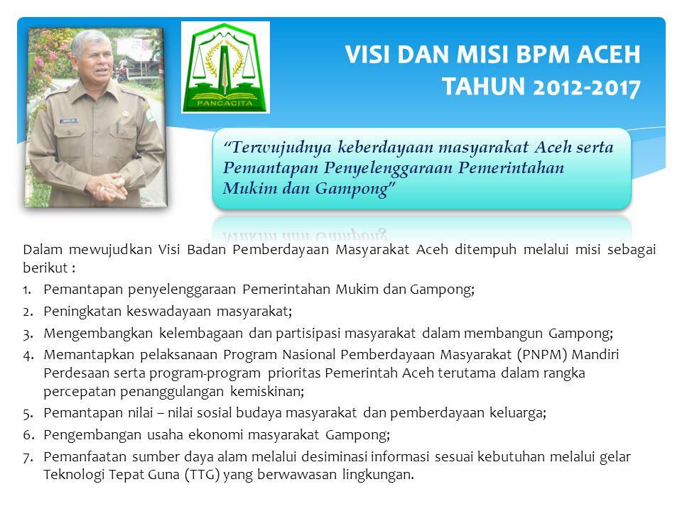 VISI DAN MISI BPM ACEH TAHUN 2012-2017