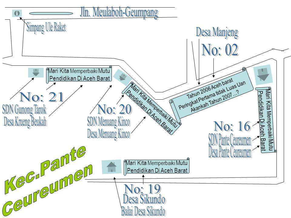 No: 02 No: 21 No: 20 No: 16 Kec.Pante Ceureumen No: 19