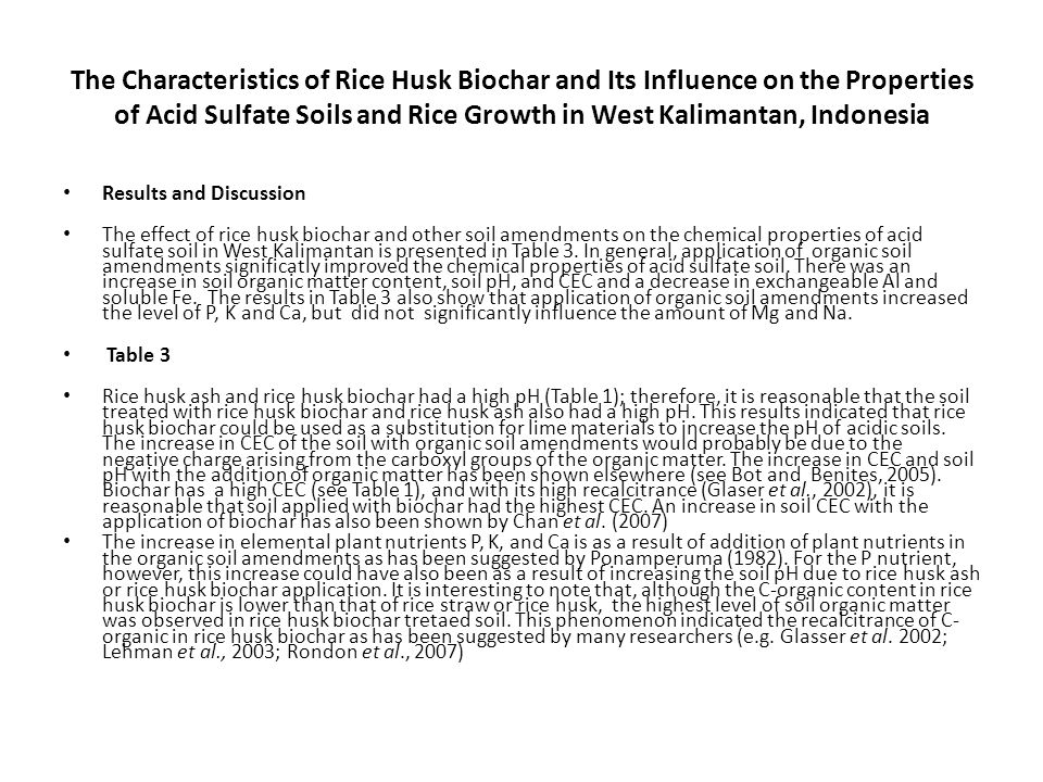 The Characteristics of Rice Husk Biochar and Its Influence on the Properties of Acid Sulfate Soils and Rice Growth in West Kalimantan, Indonesia