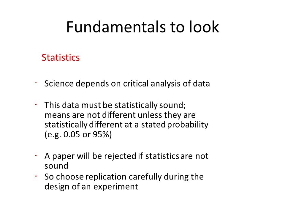 Fundamentals to look Statistics