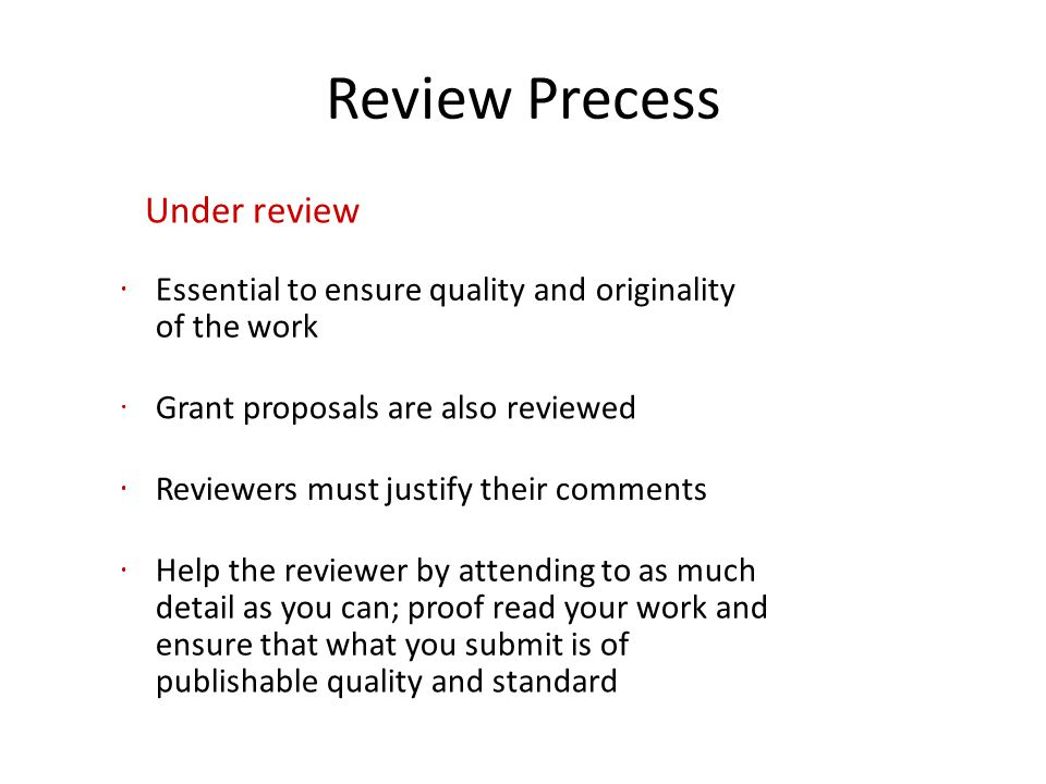 Review Precess Under review