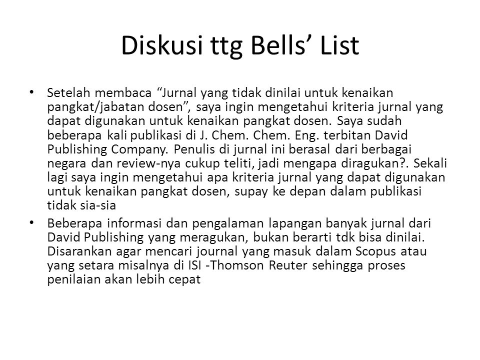 Diskusi ttg Bells' List