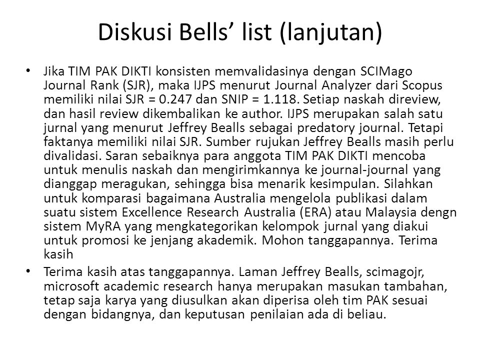 Diskusi Bells' list (lanjutan)