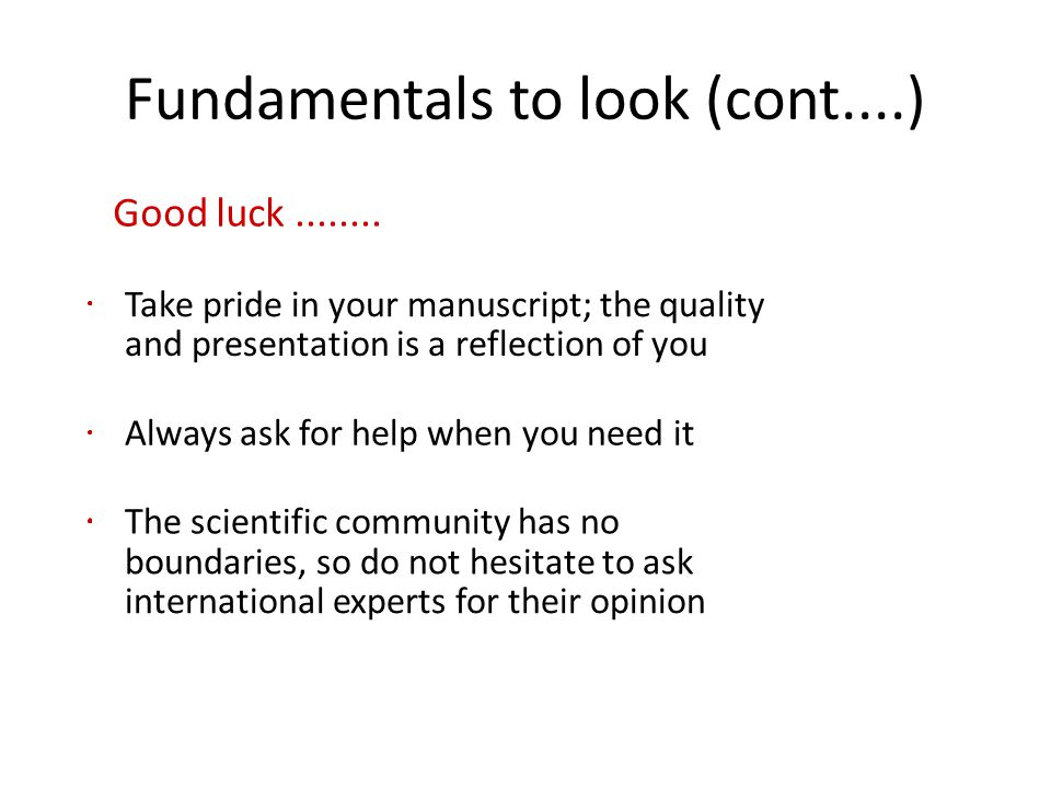 Fundamentals to look (cont....)