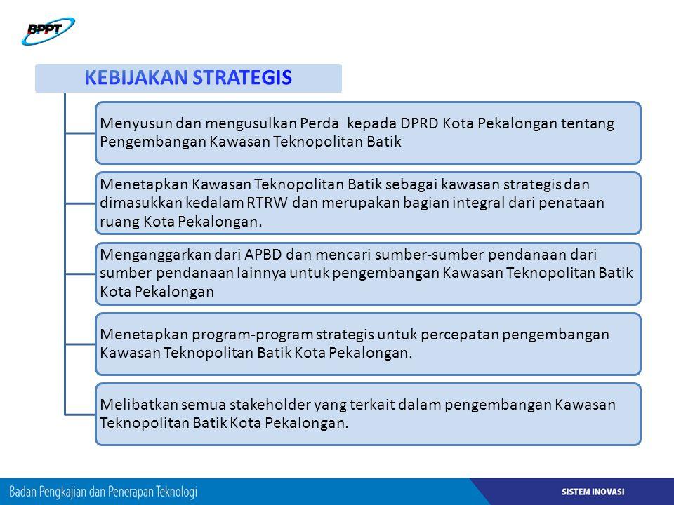 KEBIJAKAN STRATEGIS Menyusun dan mengusulkan Perda kepada DPRD Kota Pekalongan tentang Pengembangan Kawasan Teknopolitan Batik.