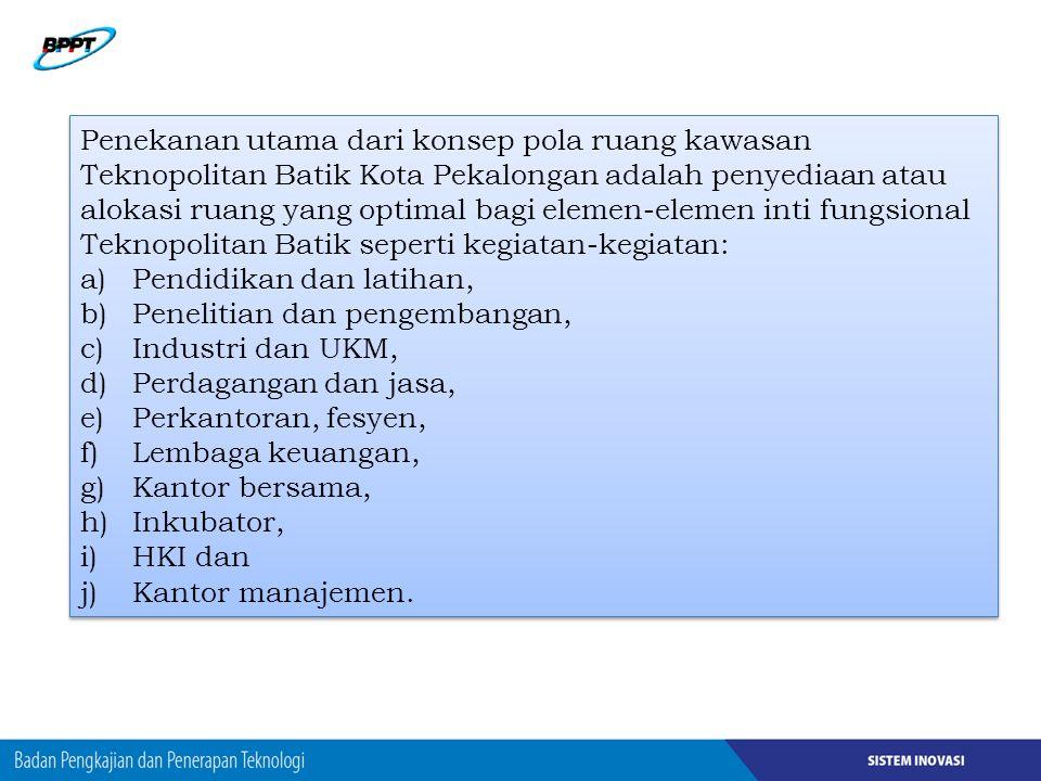 Penekanan utama dari konsep pola ruang kawasan Teknopolitan Batik Kota Pekalongan adalah penyediaan atau alokasi ruang yang optimal bagi elemen-elemen inti fungsional Teknopolitan Batik seperti kegiatan-kegiatan:
