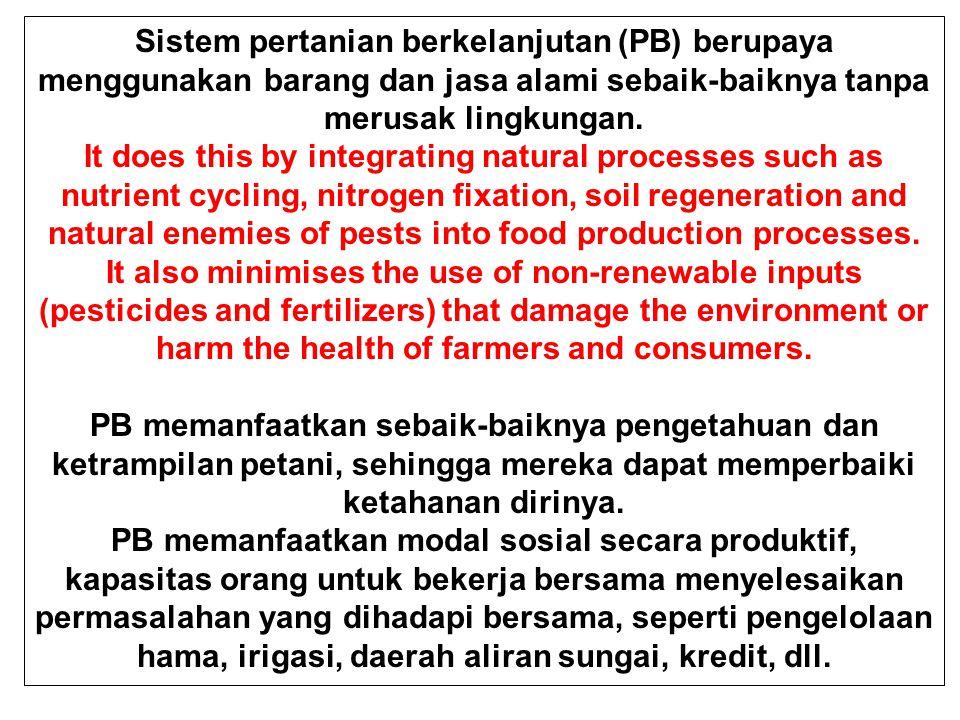 Sistem pertanian berkelanjutan (PB) berupaya menggunakan barang dan jasa alami sebaik-baiknya tanpa merusak lingkungan.