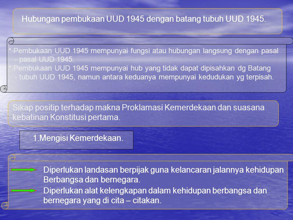 Hubungan pembukaan UUD 1945 dengan batang tubuh UUD 1945.