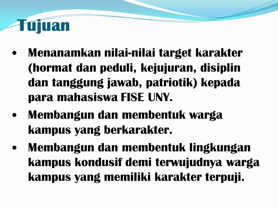 Tujuan Menanamkan nilai-nilai target karakter (hormat dan peduli, kejujuran, disiplin dan tanggung jawab, patriotik) kepada para mahasiswa FISE UNY.