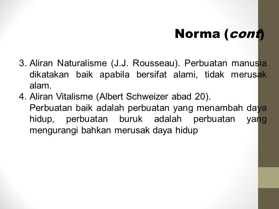 Norma (cont) Aliran Naturalisme (J.J. Rousseau). Perbuatan manusia dikatakan baik apabila bersifat alami, tidak merusak alam.