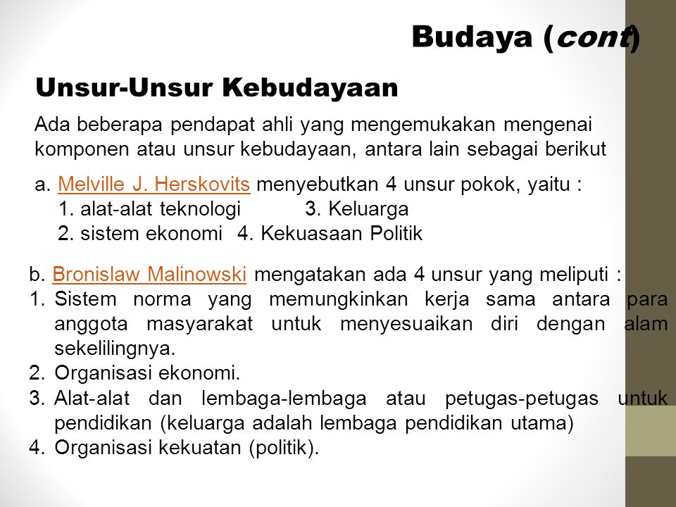 Budaya (cont) Unsur-Unsur Kebudayaan