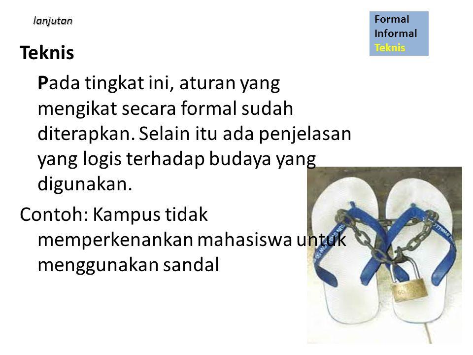 Contoh: Kampus tidak memperkenankan mahasiswa untuk menggunakan sandal