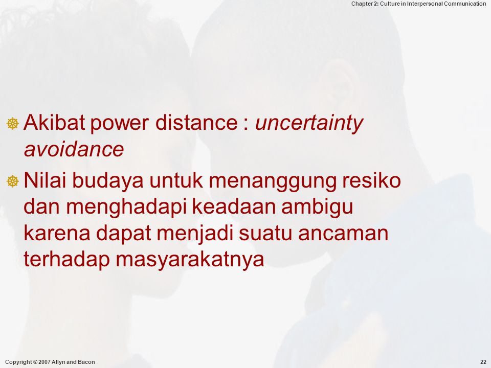 Akibat power distance : uncertainty avoidance