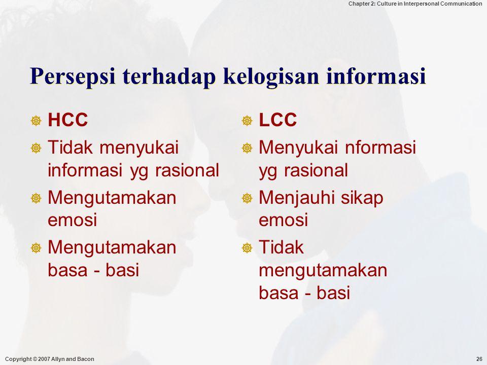 Persepsi terhadap kelogisan informasi