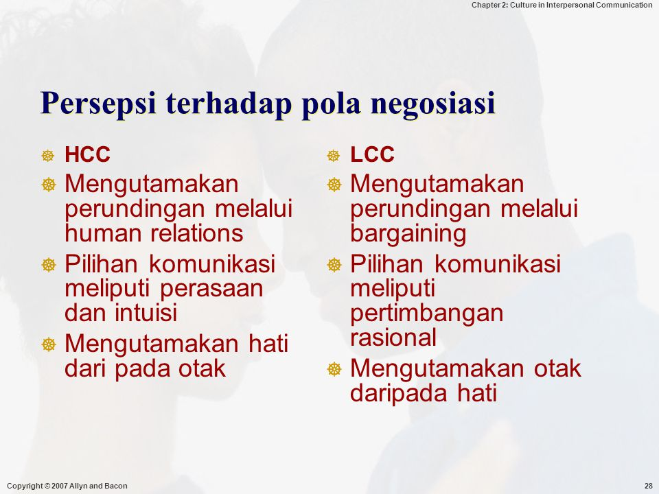 Persepsi terhadap pola negosiasi