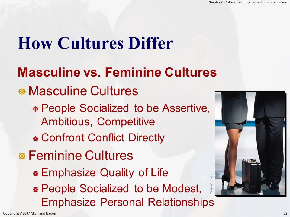 How Cultures Differ Masculine vs. Feminine Cultures Masculine Cultures