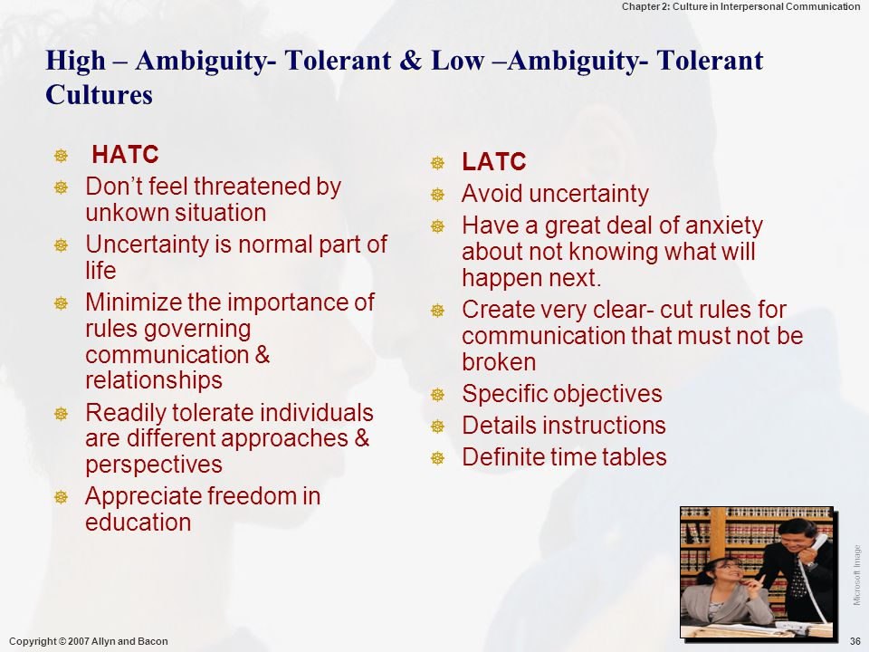 High – Ambiguity- Tolerant & Low –Ambiguity- Tolerant Cultures