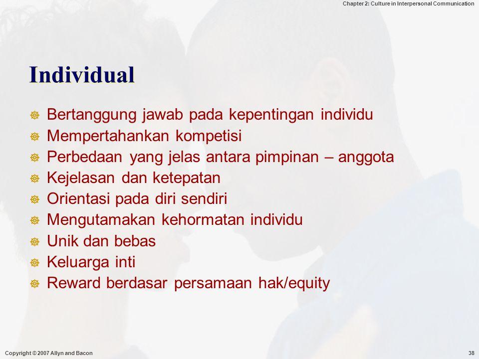 Individual Bertanggung jawab pada kepentingan individu