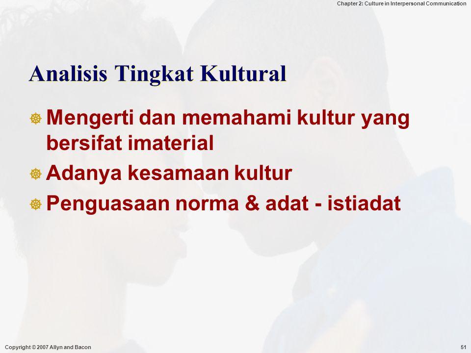 Analisis Tingkat Kultural