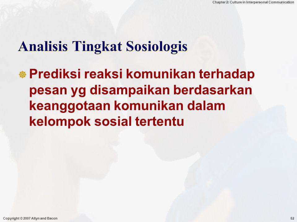 Analisis Tingkat Sosiologis