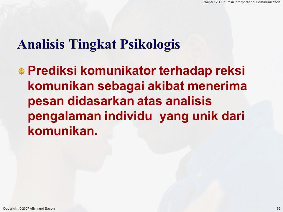 Analisis Tingkat Psikologis