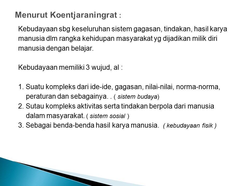 Menurut Koentjaraningrat :