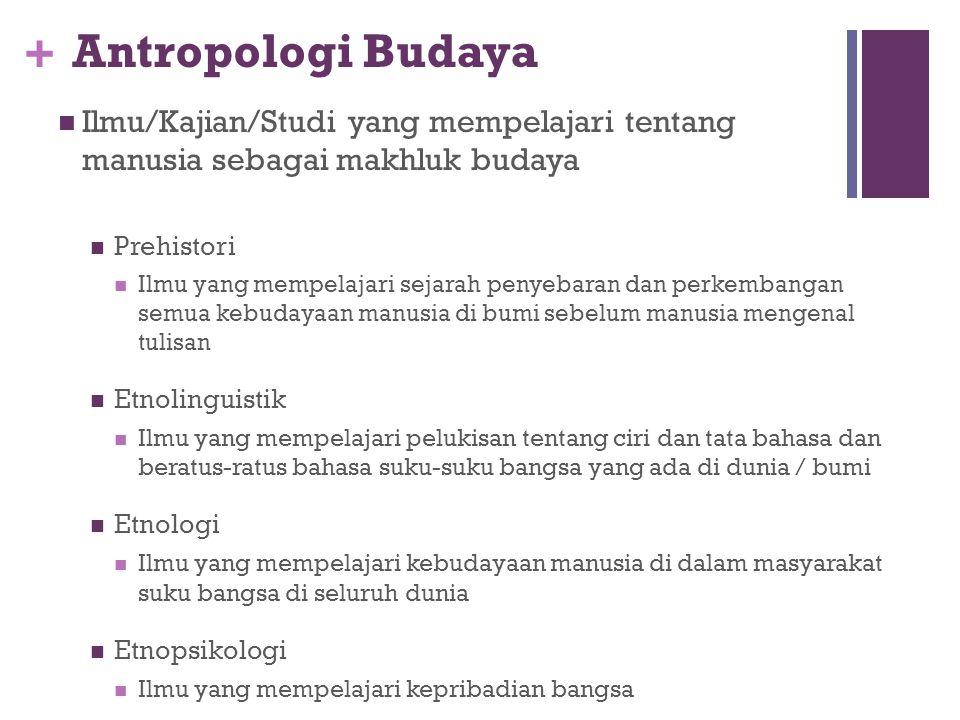 Antropologi Budaya Ilmu/Kajian/Studi yang mempelajari tentang manusia sebagai makhluk budaya. Prehistori.