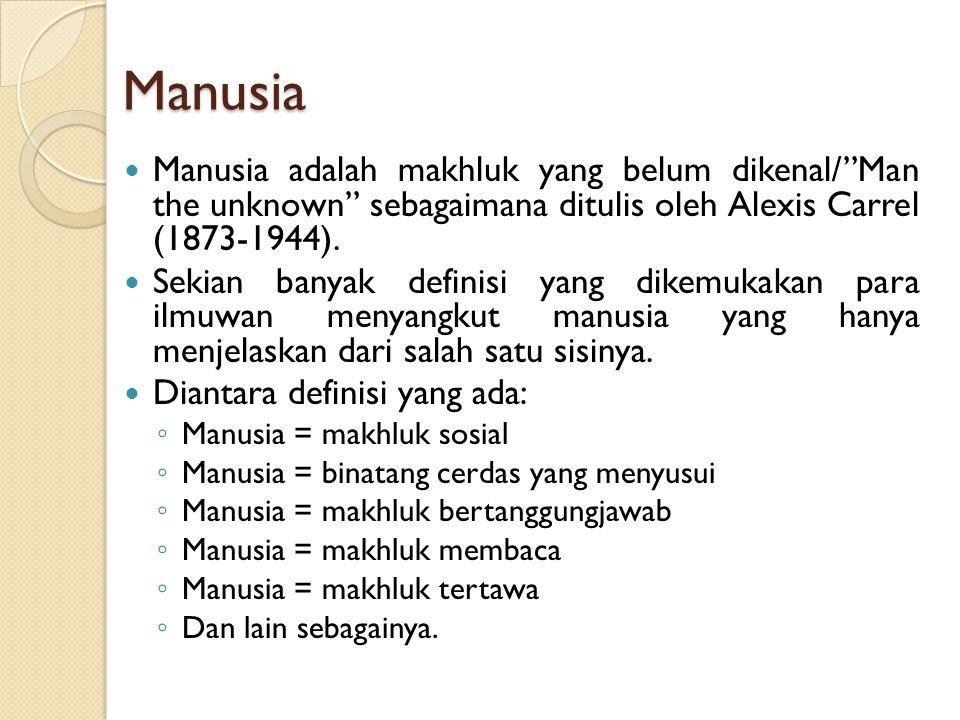 Manusia Manusia adalah makhluk yang belum dikenal/ Man the unknown sebagaimana ditulis oleh Alexis Carrel (1873-1944).