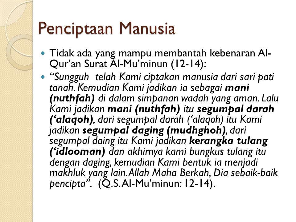 Penciptaan Manusia Tidak ada yang mampu membantah kebenaran Al- Qur'an Surat Al-Mu'minun (12-14):