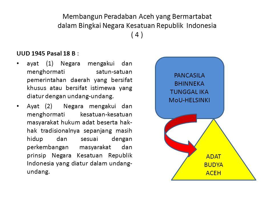 Membangun Peradaban Aceh yang Bermartabat dalam Bingkai Negara Kesatuan Republik Indonesia ( 4 )