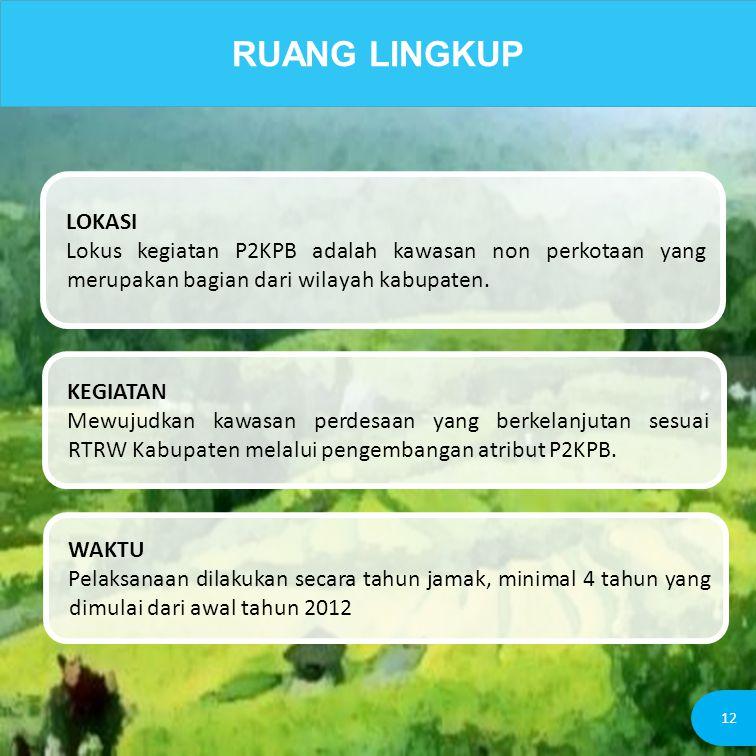 RUANG LINGKUP LOKASI. Lokus kegiatan P2KPB adalah kawasan non perkotaan yang merupakan bagian dari wilayah kabupaten.