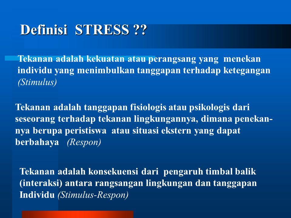 Definisi STRESS Tekanan adalah kekuatan atau perangsang yang menekan. individu yang menimbulkan tanggapan terhadap ketegangan.