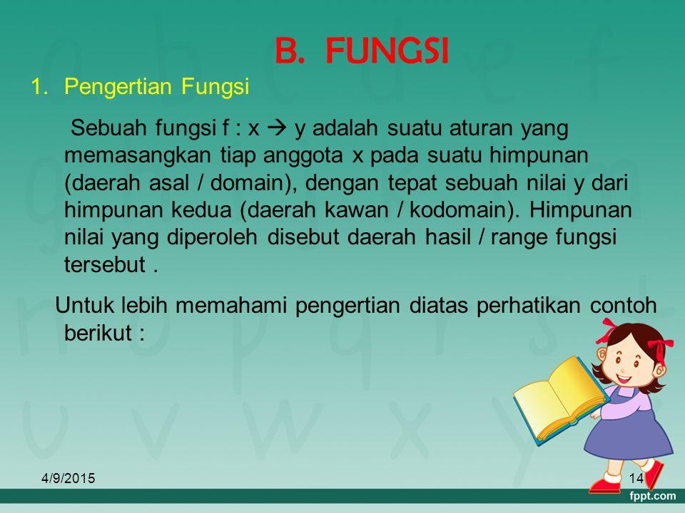 B. FUNGSI Pengertian Fungsi