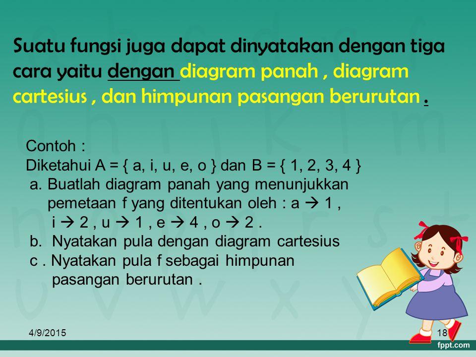 Suatu fungsi juga dapat dinyatakan dengan tiga cara yaitu dengan diagram panah , diagram cartesius , dan himpunan pasangan berurutan .