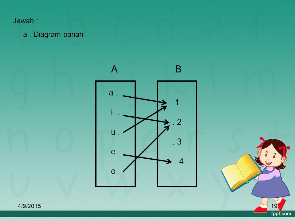 B A . 1 . 2 . 3 . 4 a . i . u . e . o . Jawab : a . Diagram panah