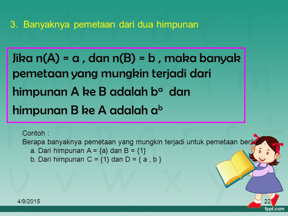 himpunan A ke B adalah ba dan himpunan B ke A adalah ab