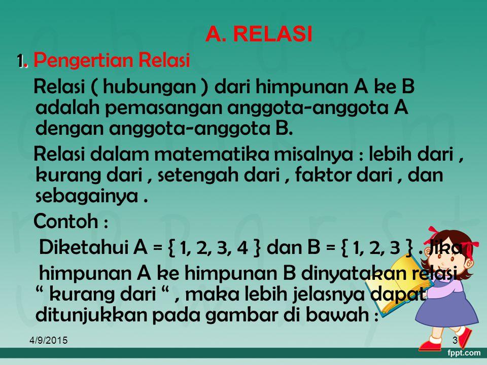 Diketahui A = { 1, 2, 3, 4 } dan B = { 1, 2, 3 } . Jika