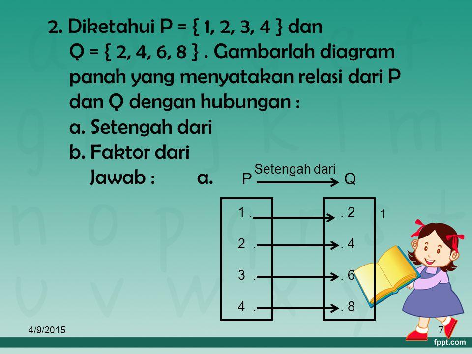 2. Diketahui P = { 1, 2, 3, 4 } dan Q = { 2, 4, 6, 8 }