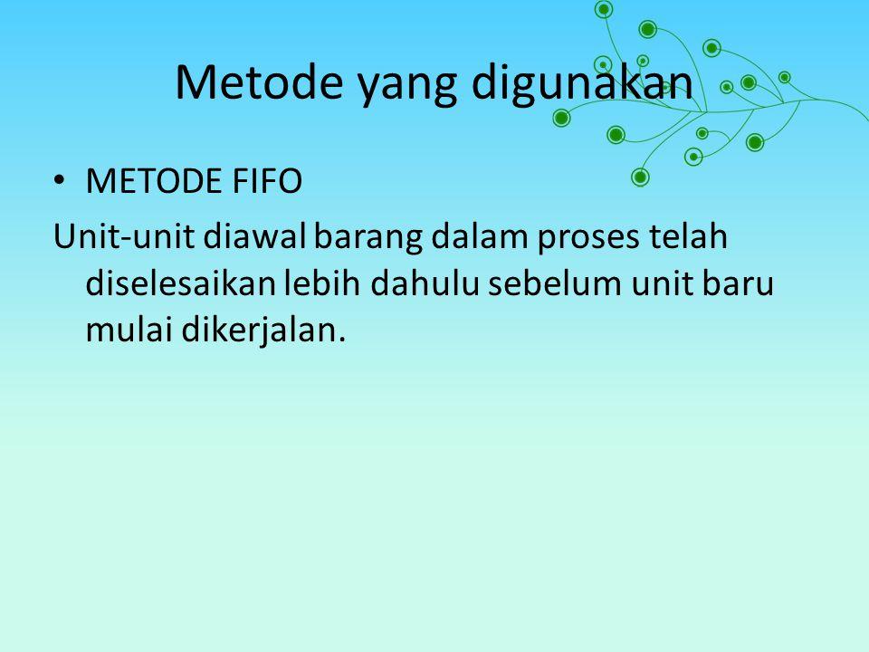 Metode yang digunakan METODE FIFO