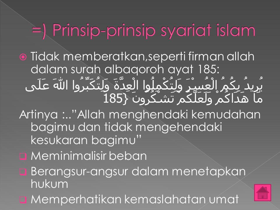 =) Prinsip-prinsip syariat islam