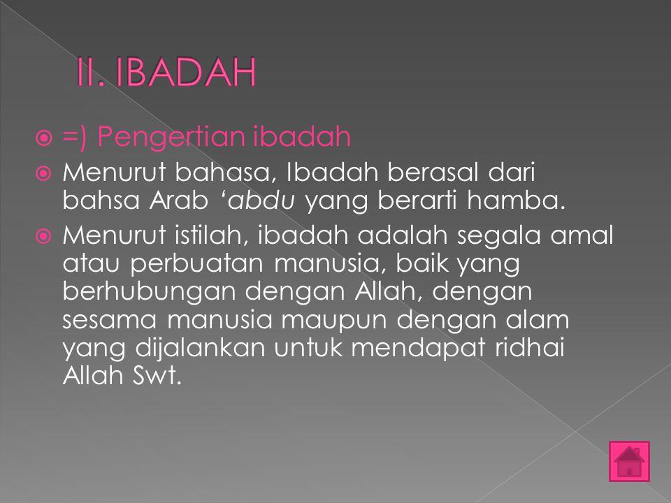 II. IBADAH =) Pengertian ibadah