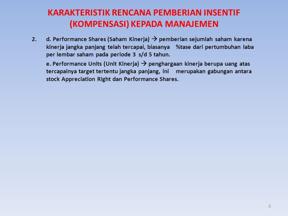 KARAKTERISTIK RENCANA PEMBERIAN INSENTIF (KOMPENSASI) KEPADA MANAJEMEN