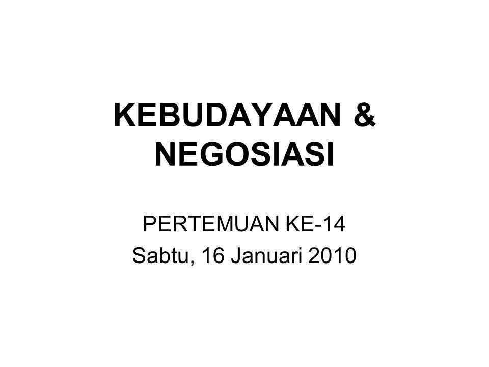 KEBUDAYAAN & NEGOSIASI