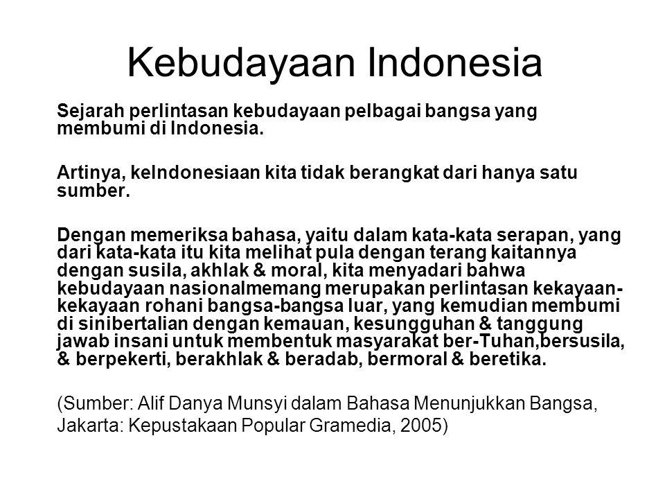 Kebudayaan Indonesia Sejarah perlintasan kebudayaan pelbagai bangsa yang membumi di Indonesia.