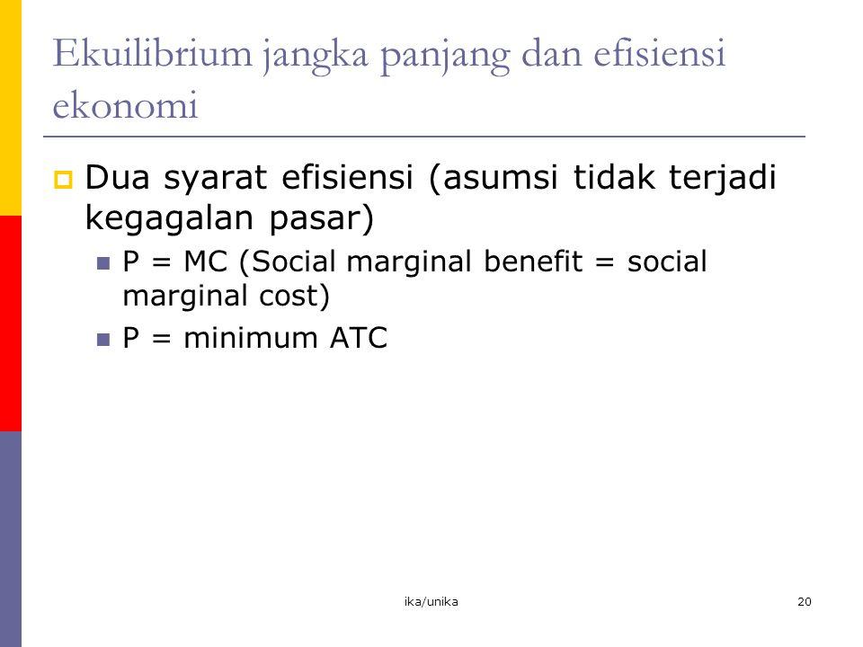Ekuilibrium jangka panjang dan efisiensi ekonomi