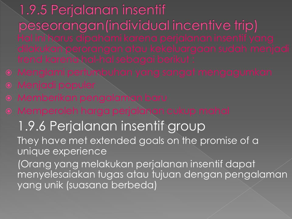 1.9.5 Perjalanan insentif peseorangan(individual incentive trip)