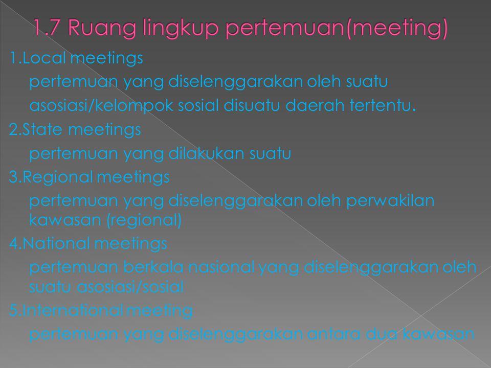 1.7 Ruang lingkup pertemuan(meeting)