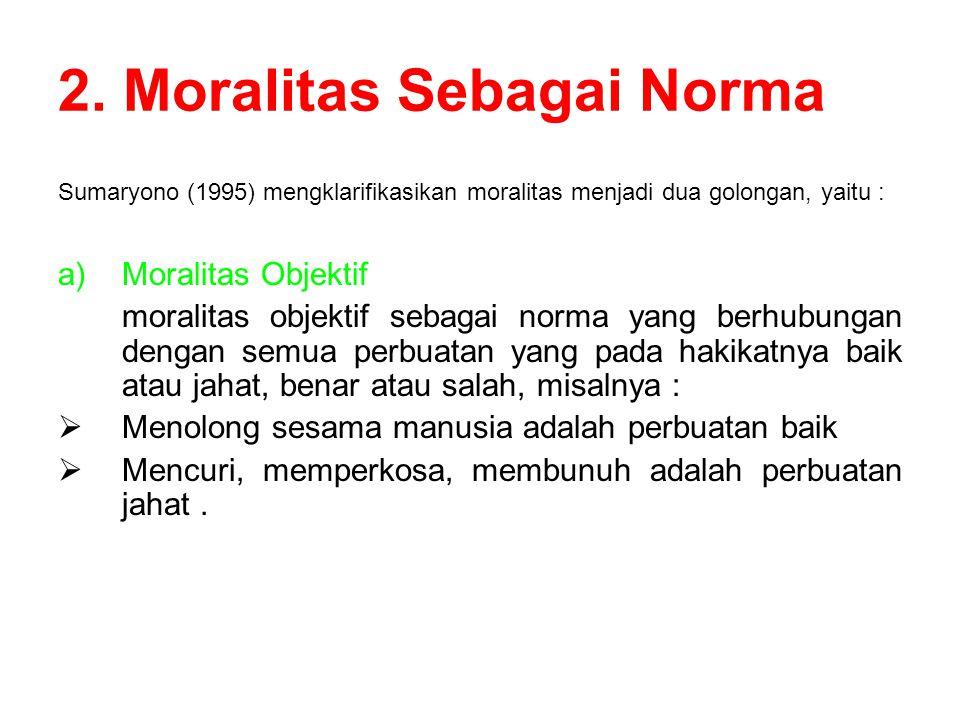 2. Moralitas Sebagai Norma