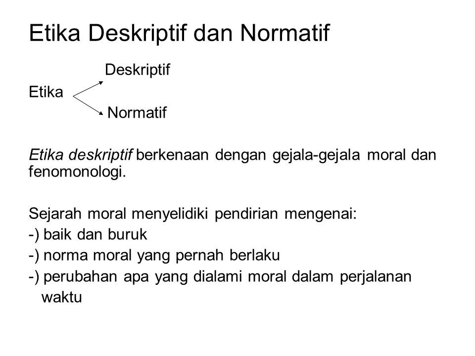 Etika Deskriptif dan Normatif